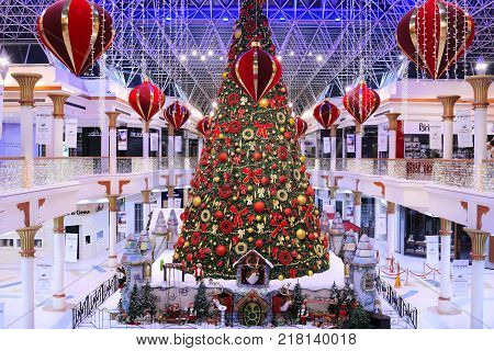 DUBAI, UAE - DEC 10: Christmas tree and decorations at the Wafi Mall in Dubai, UAE, as seen on Dec 10, 2017. The complex includes a mall, hotel, restaurants, residences, and a nightclub