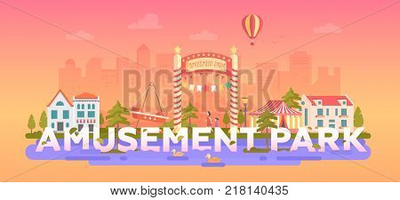 Amusement Park - modern flat design style vector illustration in a round frame on urban background with place for text. Cityscape with attractions, circus, merry-go-round. Entertainment concept