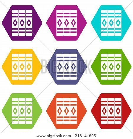 Three literary books icon set many color hexahedron isolated on white vector illustration