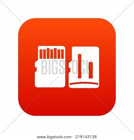 Both sides of SD memory card icon digital red for any design isolated on white vector illustration