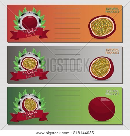Abstract vector icon illustration logo for whole ripe red passion fruit slice half. Passion Fruit pattern consisting of card label natural design food. Eat sweet fresh passions fruits on health.