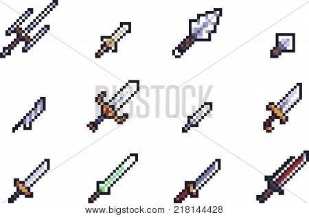 Set of weapon icons in perfect pixel art style. Sword, knife, dagger, bayonet, ax, halberd and other fantasy weapons. For your games, retro, business design. Detailed vector clip art with easy colors