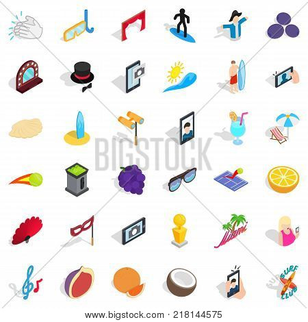 Surfing icons set. Isometric style of 36 surfing vector icons for web isolated on white background