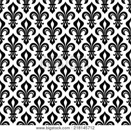 Royal heraldic Lilies (Fleur-de-lis) -- wallpaper background seamless pattern.