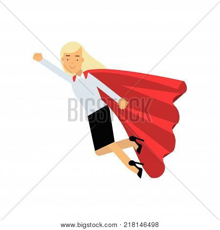 Elegant business woman wearing formal clothes and red superhero cloak. Cartoon blond lady character in flying action. Career advancement concept. Vector illustration in flat style isolated on white.