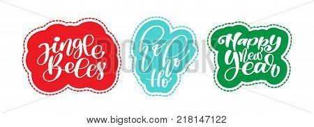 Christmas text Jingle Bells, hohoho, happy new year sticker hand written calligraphy lettering on the sticker. handmade vector illustration. Fun brush ink typography for photo overlays, t-shirt print, flyer, poster design.