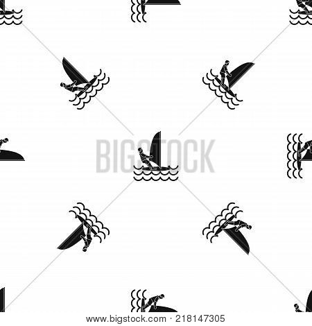 Man on windsurf pattern repeat seamless in black color for any design. Vector geometric illustration