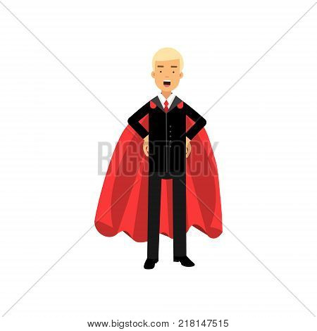 Successful man in red superhero cape standing with arms akimbo. Blond male character in classic business suit with tie. Office worker in confident pose. Isolated vector illustration in flat style.