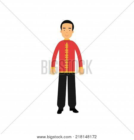 Cartoon male character in traditional chinese clothes. National costume concept. Smiling man wearing red jacket tunic with yellow buttons and black pants. Isolated flat vector illustration.