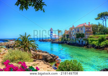 Beautiful travel destination in Porto with traditional house on the seaside near the beach in summer holiday, Portugal
