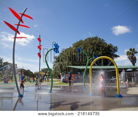 AUCKLAND NZ FEB 4: Young Children Playing at Potters Park in Auckland New Zealand Feb 4 2017