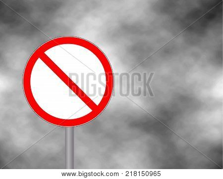 Prohibited Red Circle Metallic Border Road Sign. No sign isolated on grey sky background. Empty red crossed out circle. Vector blank ban illustration