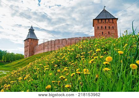 Veliky Novgorod Russia. Palace tower and Saviour Tower of Veliky Novgorod Kremlin in spring day