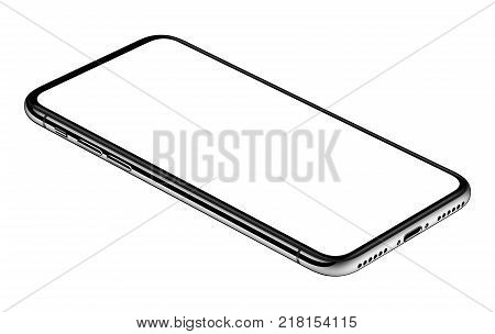 Similar to iPhone X smartphone lying on surface. Smartphone mockup. New modern black frameless smartphone mockup with white screen lying on surface. Isolated on white background. 3D illustration.