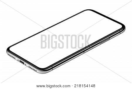 Similar to iPhone X smartphone lying on surface table or office desk. Smartphone mockup. New modern black frameless smartphone mockup with white screen lying on surface. Isolated on white background. 3D illustration.