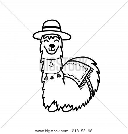 Vector illustration of cute character south lama. Isolated outline cartoon baby llama. Hand drawn Peru animal guanaco, alpaca, vicuna. Drawing for print, fabric, textile, poster etc