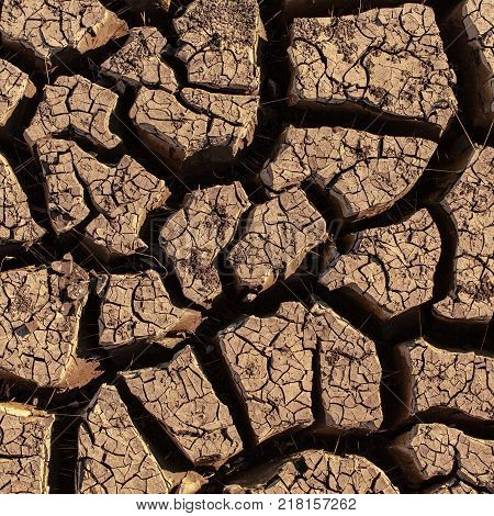 Heat shattered earth in the desert. Arid and sultry weather creates such beauty