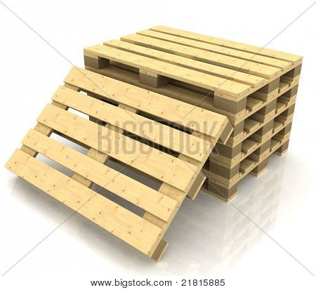 wooden pallets on the white background