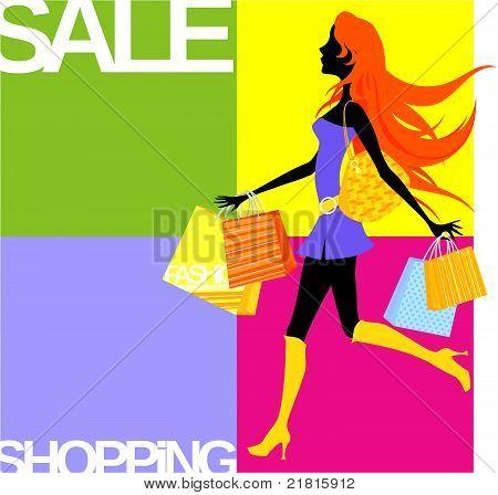Shopping Mädchen-Hintergrund