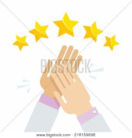 Hands applaud at positive five star feedback. Rating, evaluation, success, feedback, review, quality and management concept. Vector illustration EPS10