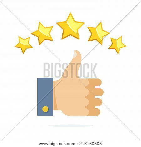 Thumb up pointing at positive five stars feedback. Rating, evaluation, success, feedback, review, quality and management concept. Vector illustration EPS10