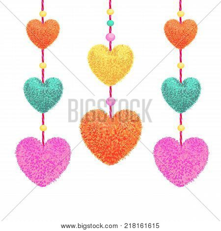 Vector colorful illustration of decortive elements with pom-poms in the shape of a heart hanging on the ropes as garland with beads isolated on white background. Decor for Valentines day design.