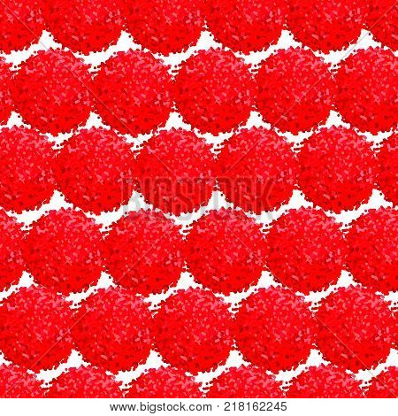 Vector seamless pattern with small furry flowers or pompoms in red bright color can be used for web print wallpaper spring summer fashion fabric textile card background.