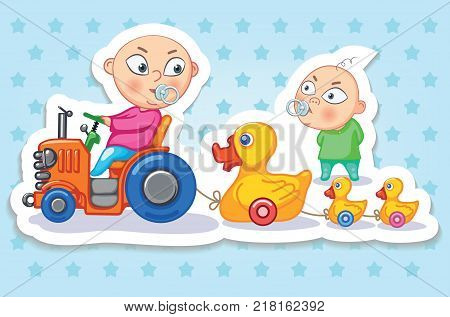 Babies. Happy childhood of kids. Funny stickers. Children play in the children`s room. The kid is riding a toy tractor. Expression of joy and happiness, children`s emotions. Colorful vector illustration on white background.