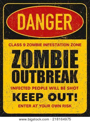 Halloween warning sign danger zombie area.  jpeg version
