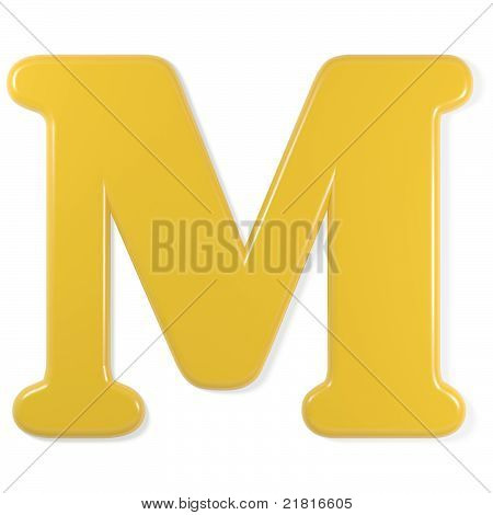 yellow font - letter m