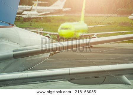 Airplane at the airport before the flight