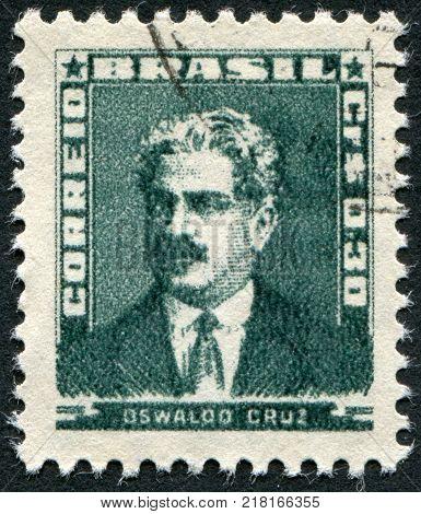 BRAZIL - CIRCA 1954: Postage stamps printed in Brazil depicted Oswaldo Cruz circa 1954