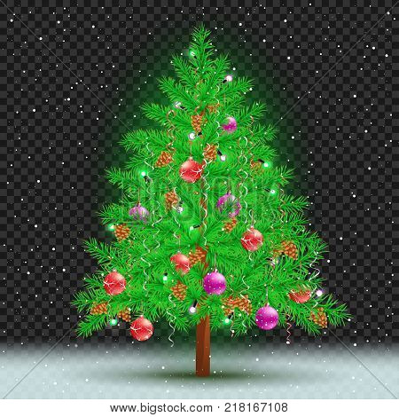 Christmas tree on transparent background. Spruce fir with toys ribbons cones and lights in branches. Green needles plant with shadow. New Year holiday pine fir-tree