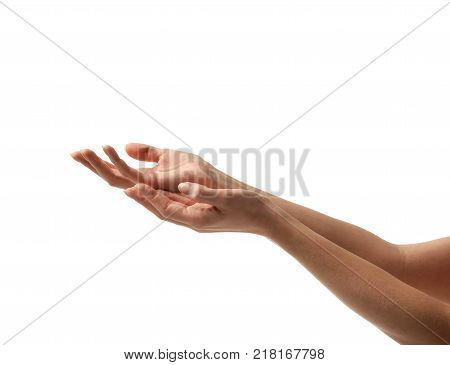 Beautiful woman hands asking for support money aim help  waiting for water isolated on the white background