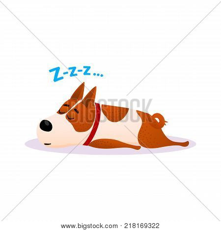 Funny cartoon sleeping dog portrait. Cute dozing flat character. Happy resting puppy of terrier isolated on white background. Napping doggy wearing red collar. Colorful vector illustration. poster