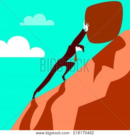 Trying to pull the stone up the hill. Vector illustration