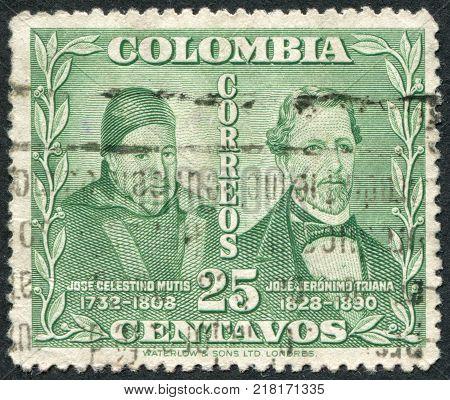 COLOMBIA - CIRCA 1947: A stamp printed in the Columbia shows Jose Celestino Mutis and Jose Jerónimo Triana circa 1947