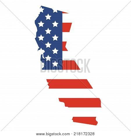 Vector illustration: California map. State of California map silhouette with the flag of United States of America.