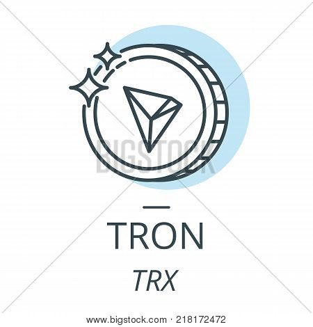 Tron cryptocurrency coin line, icon of virtual currency vector