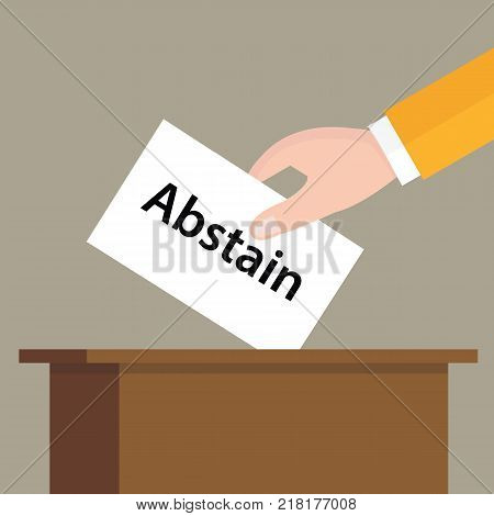 abstain choice vote hand putting a ballot paper in a slot of box vector