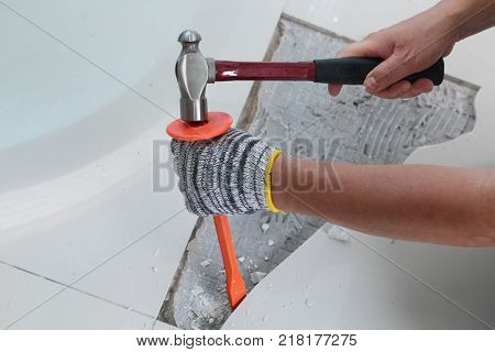 Homemade Replacing floor tiles ฺBe broken and a tile adhesive plaster out the old to cement glue. For a new tile support again on same area .