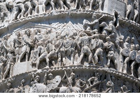 ROME, ITALY - JUNE 23, 2017: Amazing view of Marcus Aurelius Column in front of Palazzo Chigi in city of Rome, Italy