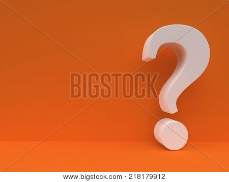 White Question mark against orange wall. Questionnaire design template. Concept background. 3D rendering.