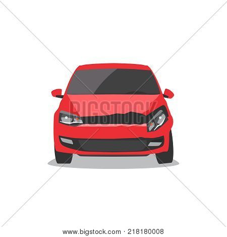 Damaged red car. Car accident. Front view Vector illustration