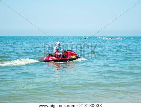 On Dec 10 2017. Jet ski world cup 2017 at Jomtien Beach in Chon Buri Thailand. Jet ski number 13 on sea.