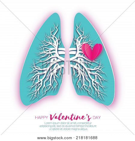 Lungs origami. Love Heart. Blue Paper cut Human Lungs anatomy with bronchial tree. Happy Valentine day. Romantic Holidays. 14 February. Vector