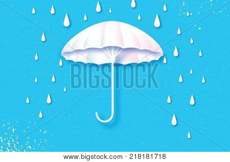 White umbrella. Air with raining. Origami Rain drop. Rainy weather. Protection and safety. Parasol on blue sky. Happy Monsoon season. Vector
