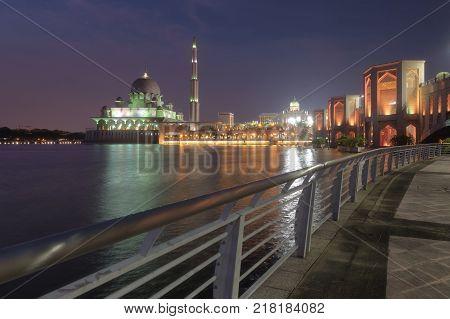 Beautiful putra Mosque view at night Putrajaya Malaysia