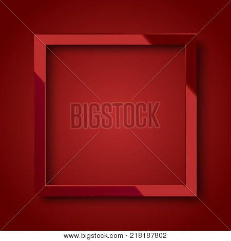 Realistic shiny red square frame on red background. Vector.