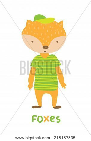 Foxes in striped green t-shirt, art illustration. Card with fashion animals. Cartoon style